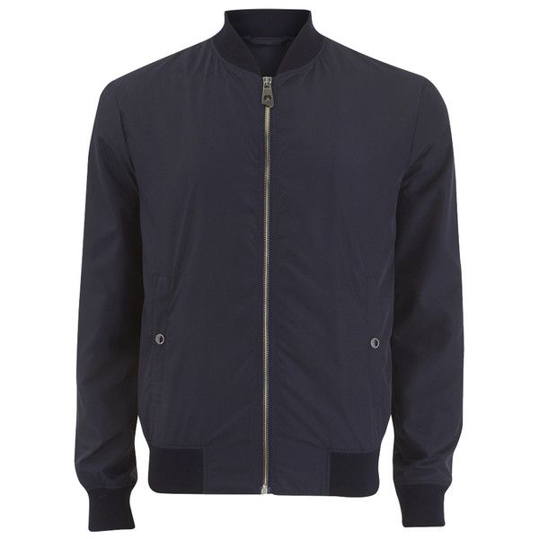 Versace Collection Men's Zipped Jacket - Navy ($560) ❤ liked on Polyvore featuring men's fashion, men's clothing, men's outerwear, men's jackets, men, outerwear, men wear, navy, mens flight jacket and mens blouson jacket