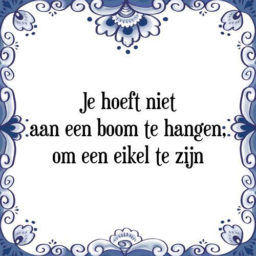 Je hoeft niet aan een boom te hangen, om een eikel te zijn - Bekijk of bestel deze Tegel nu op Tegelspreuken.nl
