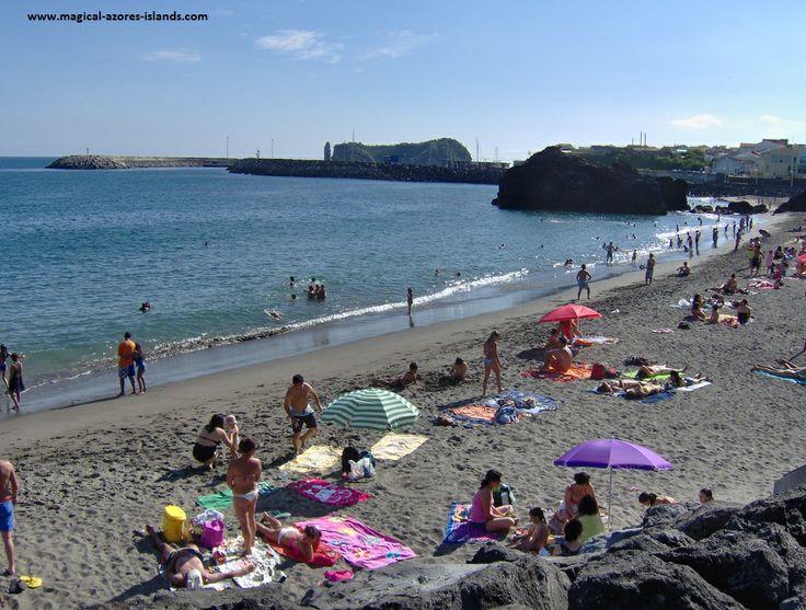 Busy summer day at Praia da Vinha da Areia in Vila Franca Do Campo, Sao Miguel Azores