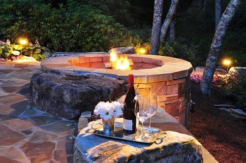 Masonry Fire Pit, Landscape Lighting Fire Pit Greenleaf Services Inc. Linville, NC