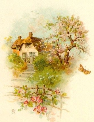 Cottage and Spring flowering tree behind a Rose draped fence