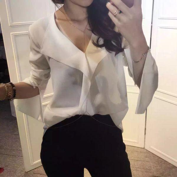 FSS011 Flounce loose silk shirt  V collar blouses/women's pink bow shirts/women silk shirts/lady bow blouses/pink sleeve blouses