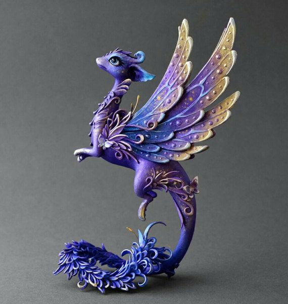 Dragon sculpture dragon figurine  fantasy creature OOAK  fairy dragon purple blue dragon with butterfly fantasy dragon limited edition