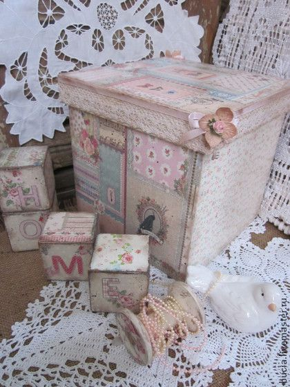 "Короб ""Ситцевый - бледно-розовый,короб для хранения,шебби,рукоделие,короб"