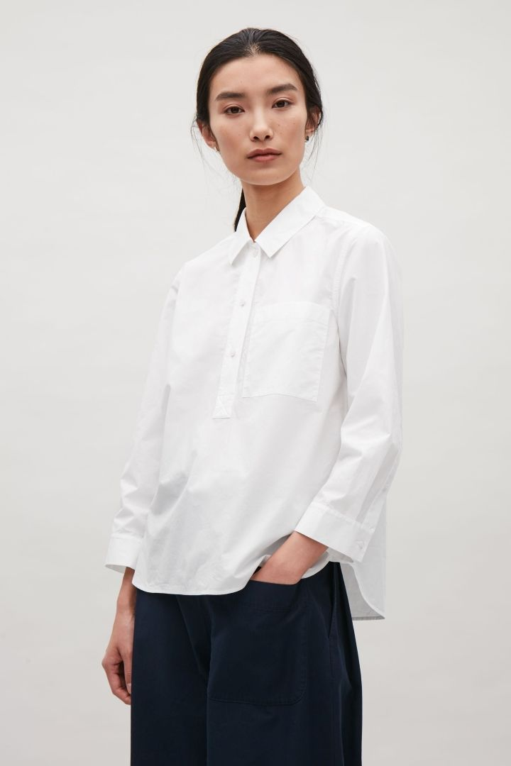 COS image 2 of Grandad collar shirt in White