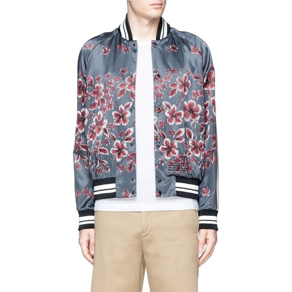 Valentino Hibiscus print satin souvenir jacket (39,385 MXN) ❤ liked on Polyvore featuring men's fashion, men's clothing, men's outerwear, men's jackets, blue, mens blue jacket, mens summer jackets, mens satin jacket and mens leopard print jacket