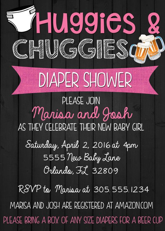 Huggies and Chuggies Baby Shower Invitation by SimplyKayleeDesigns