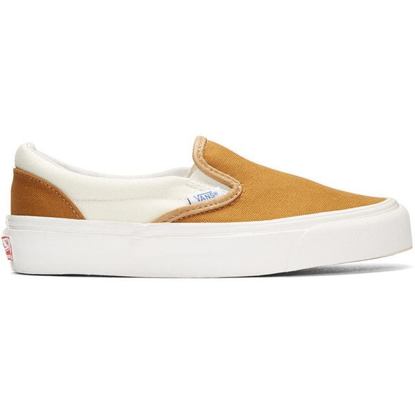 Vans Brown OG Classic Slip-On Sneakers ($59) ❤ liked on Polyvore featuring shoes, sneakers, brown, pull on sneakers, leather slip-on shoes, leather shoes, brown leather sneakers and slip on sneakers