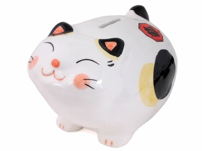 White Lucky Japanese Cat Maneki Neko Bank