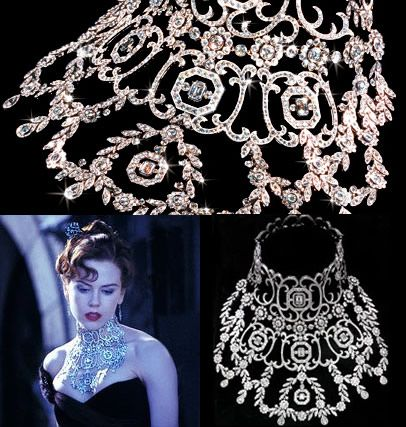 The most expensive diamond necklace by Stefano Canturi designed for Nicole Kidman's character Satine in the recent film Moulin Rouge, is a modern reworking of the garland style of necklace fashionable in 1890s Paris. With a total of 134 carats, the necklace has an estimate of $ 750,000 to $ 1 million.
