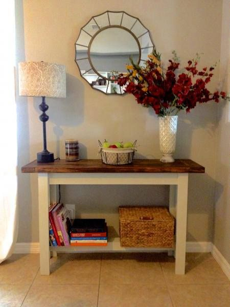 imple, Easy, and Cheap way to get what you want. Build it yourself. Free plans at Ana-White.com Tryde Console Table Direct Plan Link is http://ana-white.com/2010/01/plans/tryde-console-table