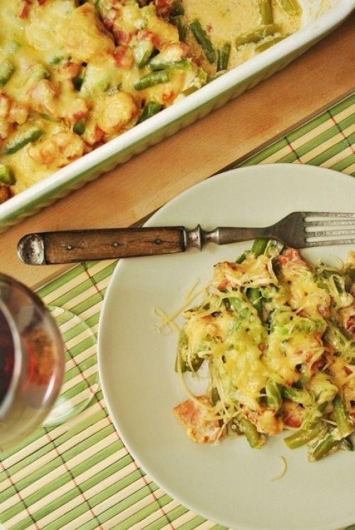 Mustáros rakott zöldbab sertéscombbal Egytál