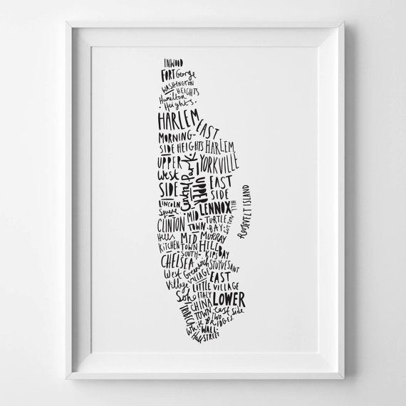 A3 New York print  Map of New York by OldEnglishCo on Etsy, £21.00