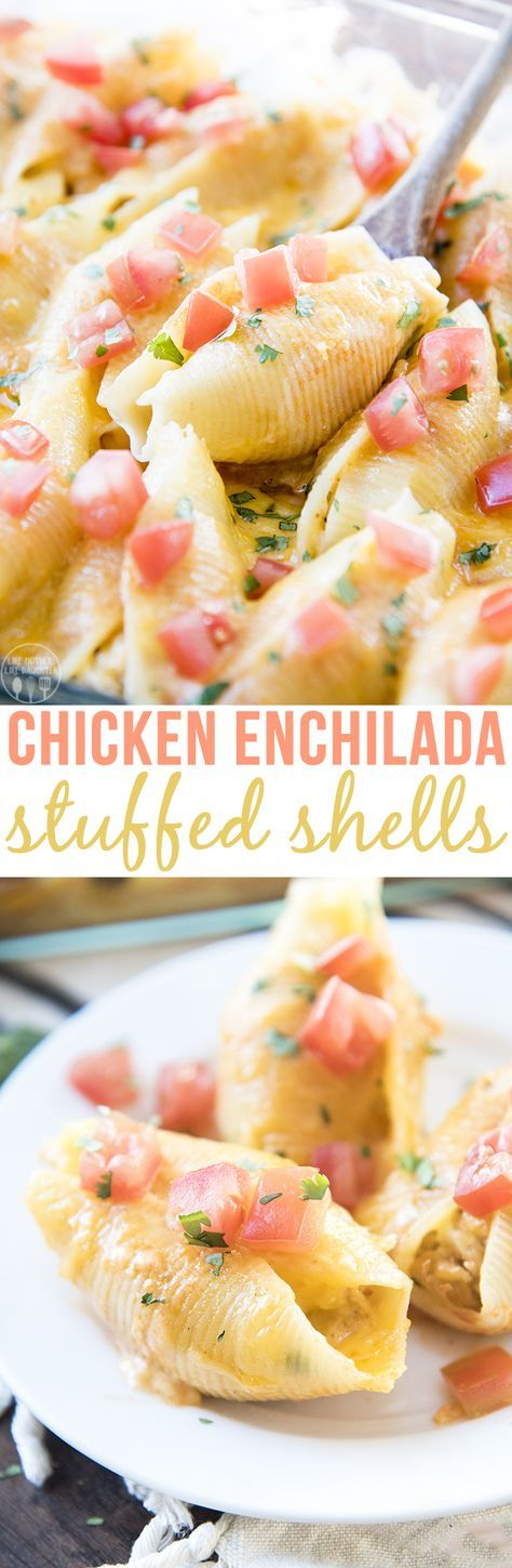 Chicken Enchilada Stuffed Shells - These stuffed shells are stuffed full of a cheesy creamy chicken mixture, and topped with enchilada sauce and more cheese!