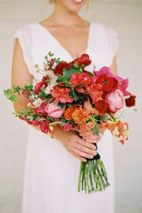 Hand Tied Bridal Bouquet In A Color Palette Of Reds, Pinks, Corals, Oranges & Yellows....