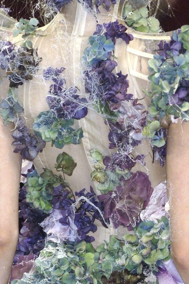 Flower Fashion - purple & green flower dress with structured bodice & cobweb detail - haute couture, fashion details // Alexander McQueen