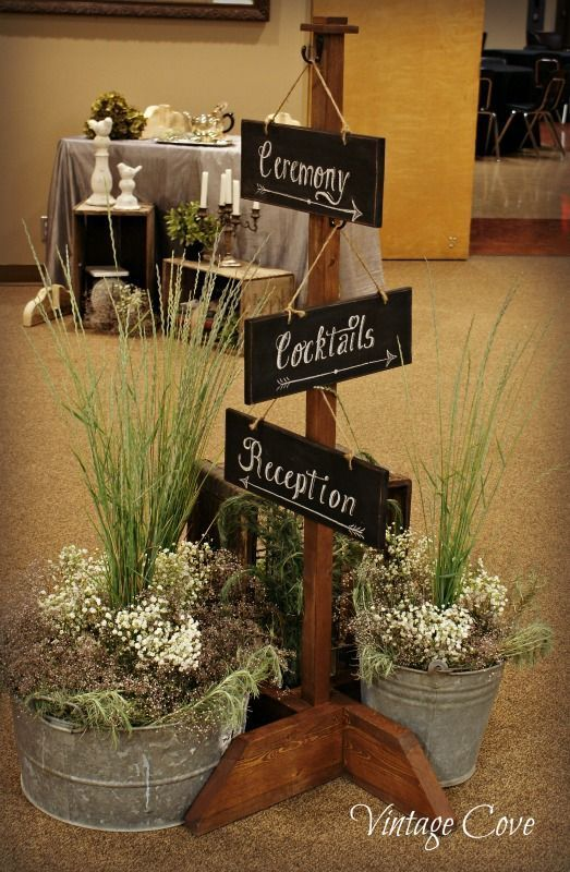 Nice little touch - sign board for wedding guests to find their way from ceremony via cocktails to the reception!