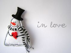 игрушки из фетра, снеговик из фетра, фетровые украшения на ёлку, фетр, снеговик