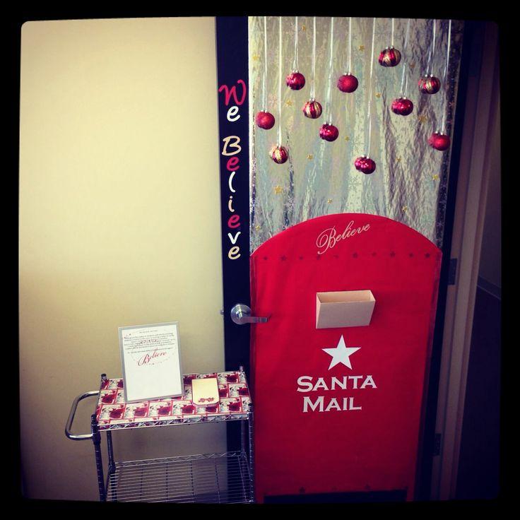 """School Office Decor Christmas Gingerbread House Door: Christmas Door Decorating Contest At Work! """"Believe"""