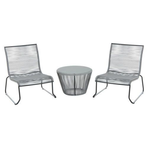 3pcs rattan set coffee table 2 chairs wicker outdoor garden furniture grey