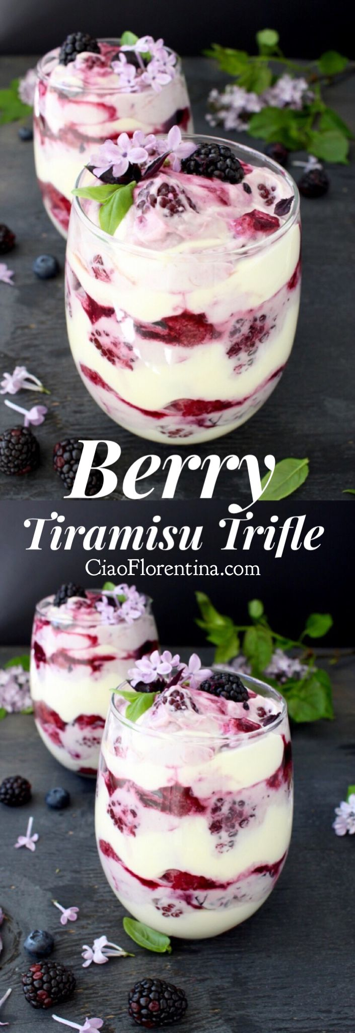 Berry Tiramisu Trifle Recipe, Easy, No Bake, No Alcohol, with Mascarpone Cheese and Lady Fingers | CiaoFlorentina.com @CiaoFlorentina