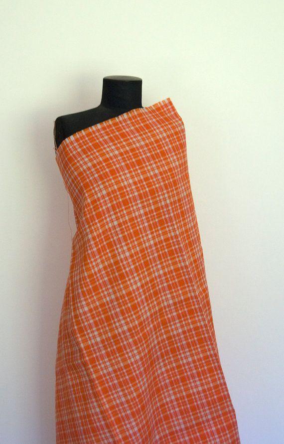VINTAGE FABRIC 1960's orange check acrylic remnant - altfabrics, $2.00