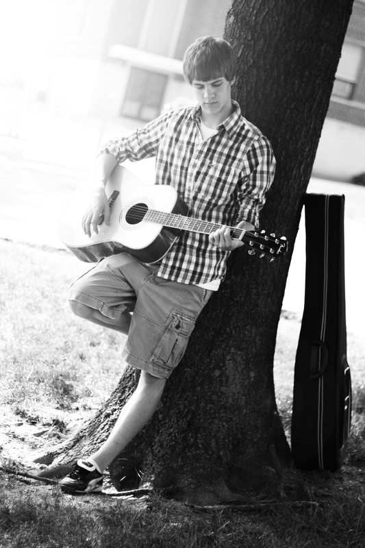 Boy Playing Guitar Senior Picture © Kendra Wilmes