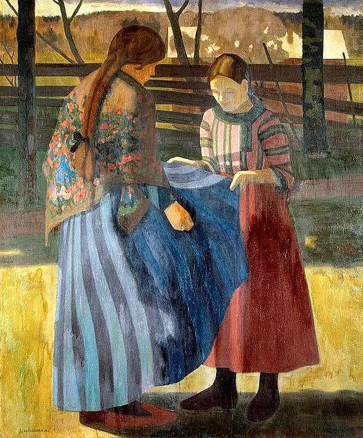 Rissanen, Juho Vilho (Finnish,1873-1950) - Two Girls