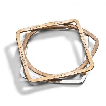 Personalized Geometric Bangle Bracelets