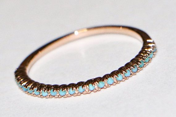 14K Rose Gold Band with Turquoise Victorian by dSparkles on Etsy