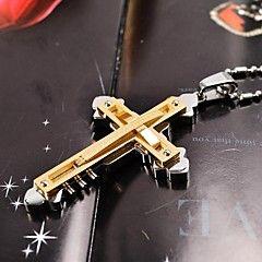 oro / argento / nero a doppio strato 316l croce collana ciondolo in acciaio inox uomini di modo
