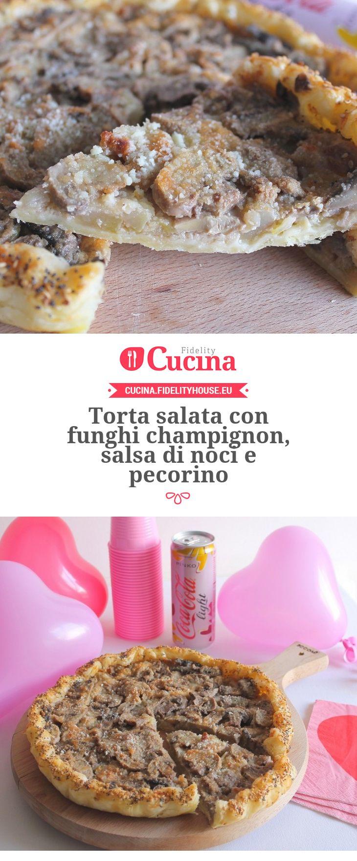 Torta salata con #funghi champignon, salsa di #noci e #pecorino della nostra utente Gloria. Unisciti alla nostra Community ed invia le tue ricette!