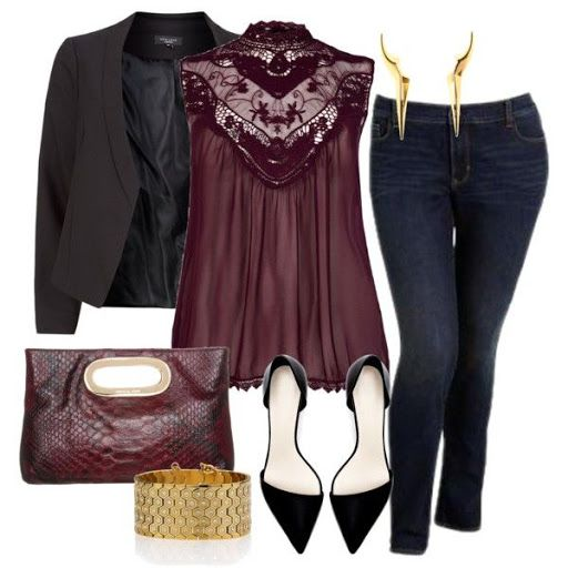 Oxblood - Plus Size - Polyvore Sinver instead of gold; nechlace instead of earrings, since I dont wear them.?