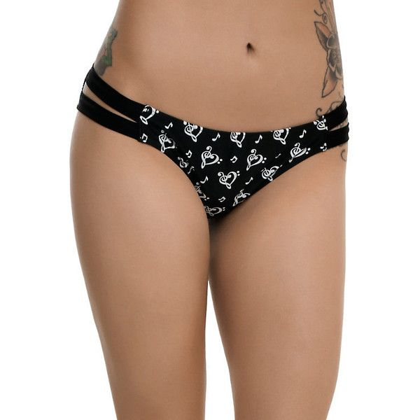 Black White Music Note Clef Heart Swim Bottoms Hot Topic ($25) ❤ liked on Polyvore featuring swimwear, strappy swimsuit top, bikini bottom swimwear, black and white bikini bottoms, black and white swimwear and swim suit tops