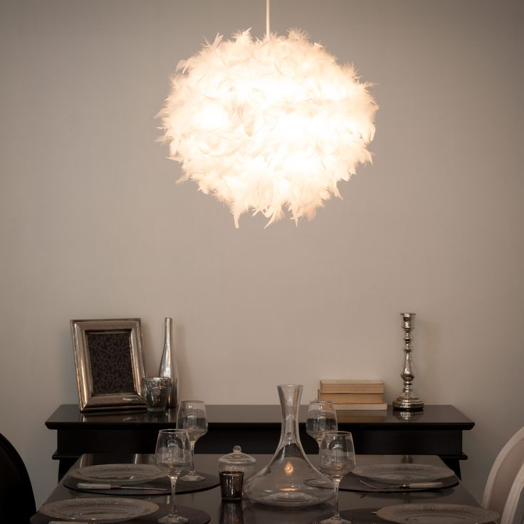Suspension en plumes blanches d 28 cm feathers maisons du monde light p - Suspension plume blanche ...