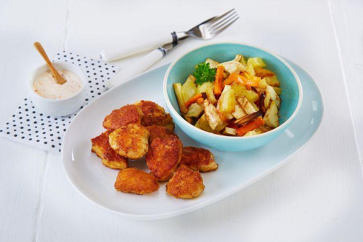 Oppskrift på Kyllingnuggets med rotgrønnsaker, foto: