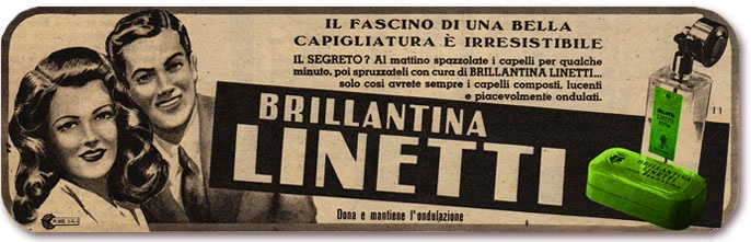Our banner for Brillantina Linetti, an italian lavender scented hair oil which has been manufactured since 1946