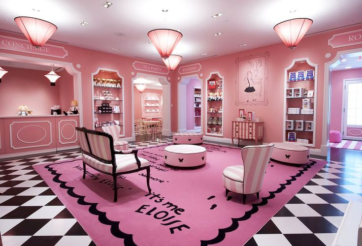Eloise at The Plaza, New York City  Based around a series of children's books about a six-year-old girl who fictionally resided in the posh NYC hotel, Eloise at the Plaza transports guests of all ages into a magical world full of color and joy. From the cheerful and stylish Betsey Johnson-designed Eloise Suite to the treasure filled Eloise Shop, all themed facilities are, of course, decked out in sweet shades of pink.