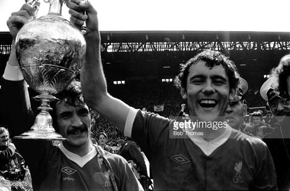 Football 14th May 1977 Anfield Liverpool Liverpool 0 v West Ham United 0 Liverpools Terry McDermott and Ray Kennedy parade the Championship Trophy