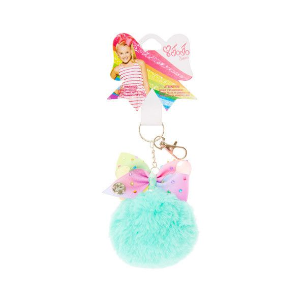 JoJo Siwa Mint Pom Pom with Pastel Rainbow Bow Keychain ($9.99) ❤ liked on Polyvore featuring accessories, key chain rings, pom pom key chain, siwa, mini key ring and mini key chain