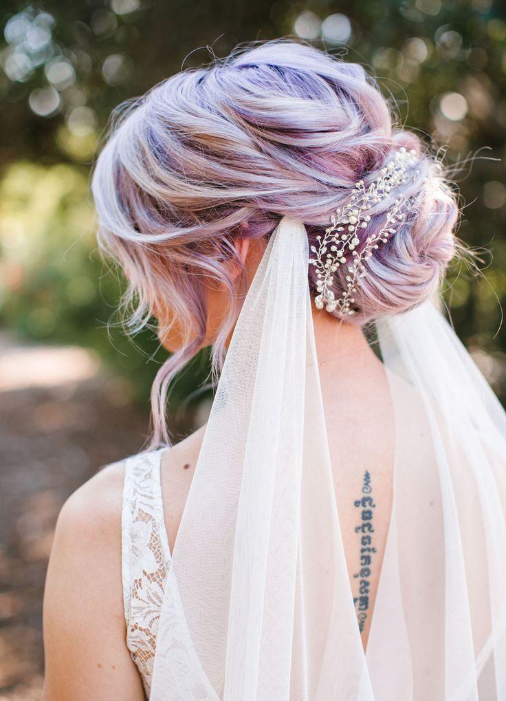 purple hair wedding updo