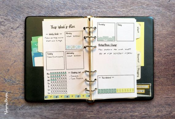 Weekly Planner Printable // 2 Page Spread // Personal Size Insert // Weekly Layout // 6 Ring Binder Insert // Gift For Her