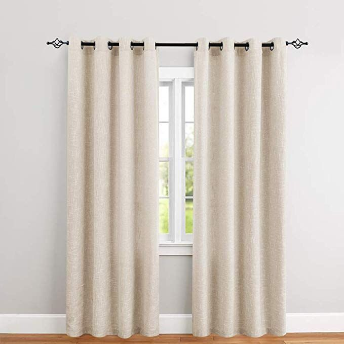 Amazon Com Linen Textured Curtains For Bedroom 84 Inch Length