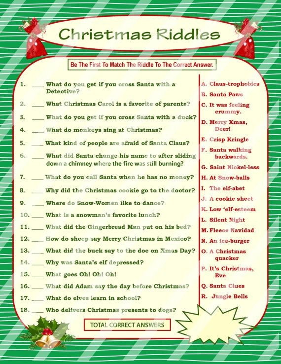 This Christmas Riddles game is a fun brain game that will have adults and kids alike laughing as they race against one another to be the first to match up the Christmas riddles with their respective somewhat corny, groan-worthy answers. This DIY printable party game would of course be