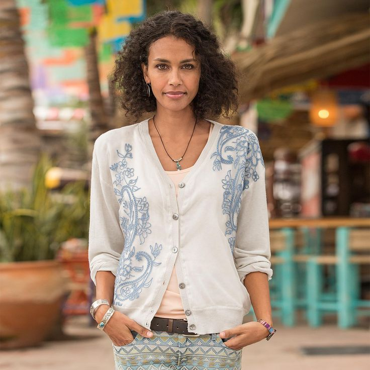 """PAISLEY WHISPER CARDIGAN--A placed, embroidered chiffon overlay makes our V-neck cardigan the prettiest in town. Shell buttons and rib trim in easy-fit style. Cotton/nylon/silk. Dry clean. Imported. Exclusive. Sizes XS (2), S (4 to 6), M (8 to 10), L (12 to 14), XL (16). Approx. 22""""L."""