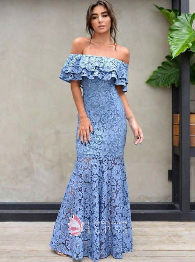 Lovely ice blue lace off-the-shoulder evening prom gown. Ruffled  off-the-shoulder mermaid long blue lace formal gown. a928ea85b7f2