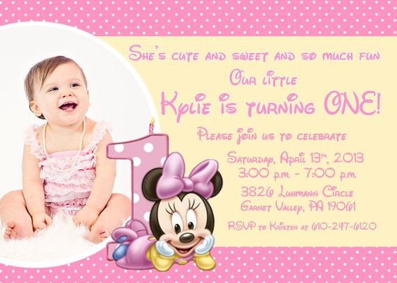 Minnie Mouse First Birthday Party Invitation