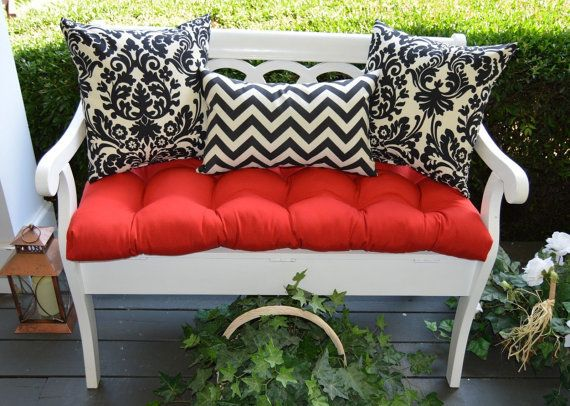 Indoor / Outdoor Cushion 3 PC Set For Bench / Swing / Glider   Red Tufted Part 83