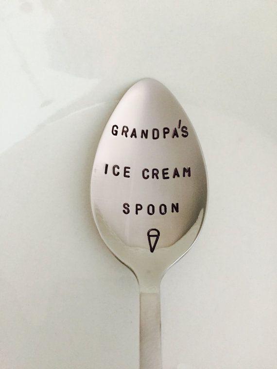 Grandpa's Ice Cream Spoon-Hand Stamped-Grandpa Birthday by LeBreux