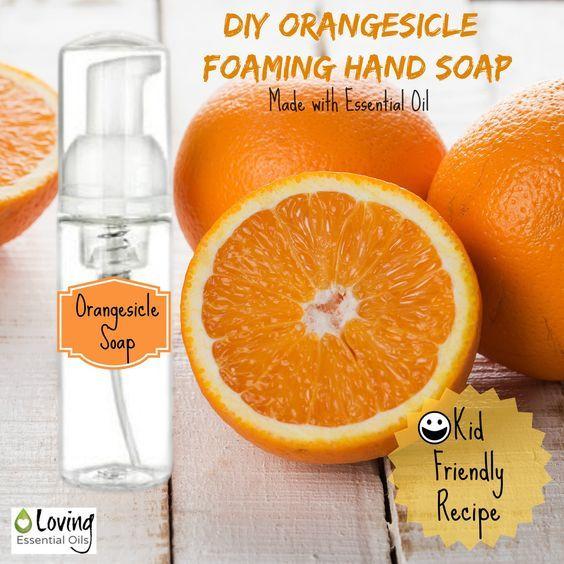 DIY Orangesicle Foaming Hand Soap - Kid Friendly Recipe | Loving Essential Oils http://www.lovingessentialoils.com/blogs/diy-recipes/69510403-diy-orangesicle-foaming-hand-soap-kid-friendly-recipe Wonderful smelling DIY foaming hand soap with orange essential oil.  Kid friendly recipe, try it today!